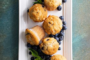 Blueberry muffins on a plate