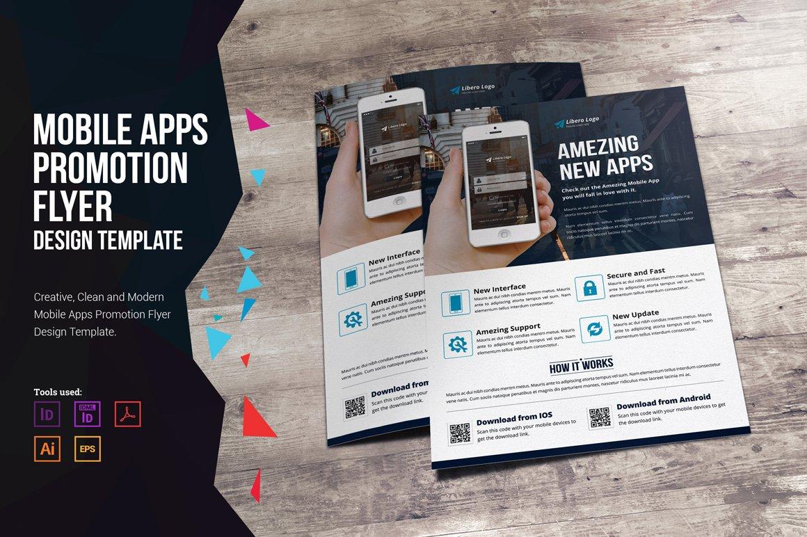 mobile apps promotion flyer flyer templates creative market