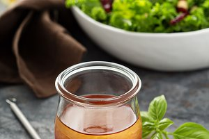Homemade vinaigrette with raspberry
