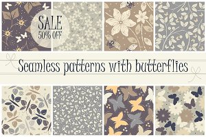 8 Patterns with butterflies