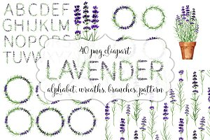 Lavender wreaths, alphabet, pattern