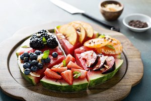 Watermelon pizza with fruits