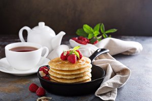 Stack of fluffy buttermilk pancakes