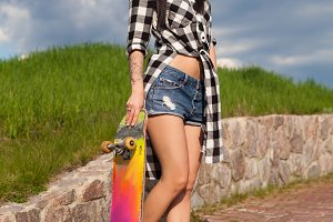 woman with coloful skate