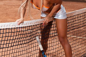 Sporty woman in bra and short