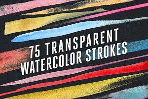 75 Transparent Watercolor Strokes