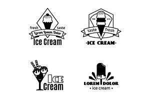 Ica cream black logo set