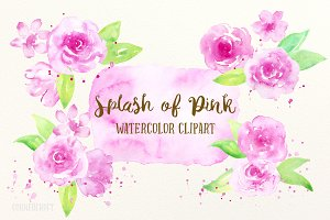 Watercolor Clipart Splash of Pink