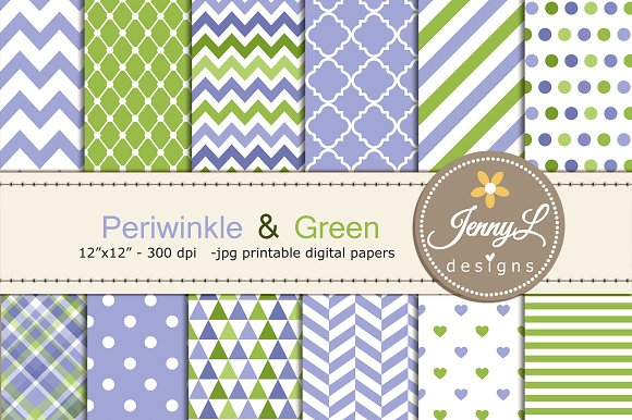 Periwinkle and Green Digital Papers
