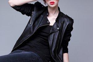 Redhead fashion model in sunglasses