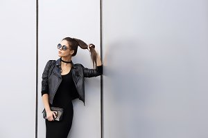 young elegant brunette woman outdoor
