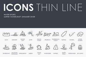 Water Sports thinline icons