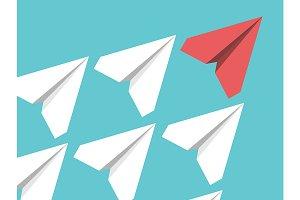 Paper planes, leadership concept