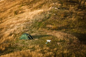Tent on hill