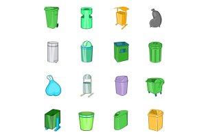 Trashcan icons set, cartoon style