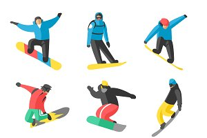 Snowboard tricks vector