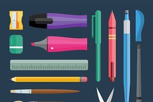 Vector stationery drawing tools