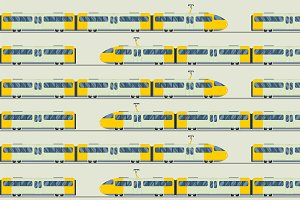 Trains vector seamless pattern