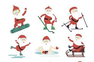 Extreme Santa winter sport vector
