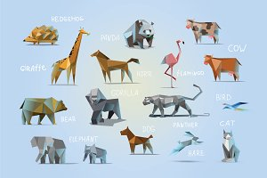 Set of vector polygonal animals