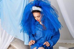 Bride in a blue dress