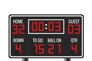 American football vector scoreboard