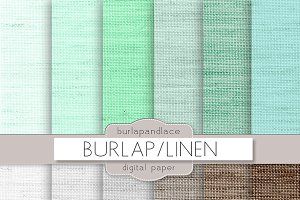 Mint/grey/brown linen burlap digital