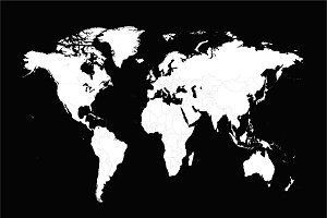 World map vector with borders white