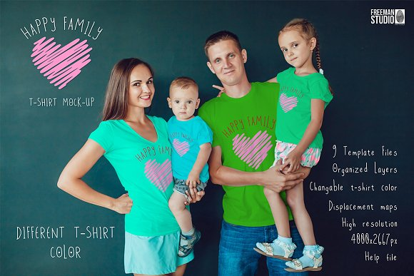 Download Happy Family T-Shirt Mock-Up