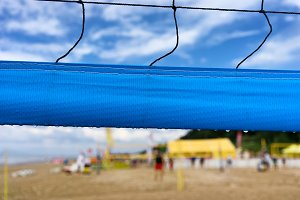 Fragment volleyball net on the beach