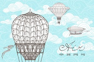 Retro Airships in Hand Drawn Style