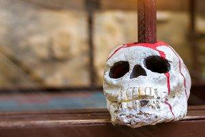 Skull is strung on a pole