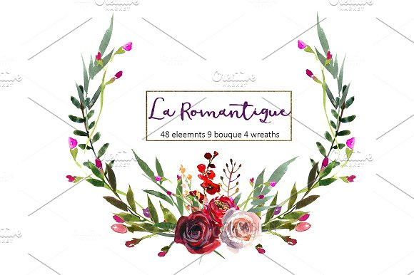 Burgundy Red Pink Flowers Clipart ~ Illustrations on Creative Market