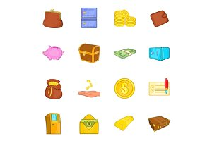 Finance icons set, cartoon style