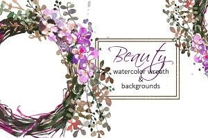 Watercolor Floral Wreath Clip Art