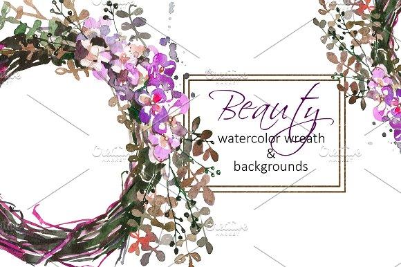 Watercolor Floral Wreath Clip Art