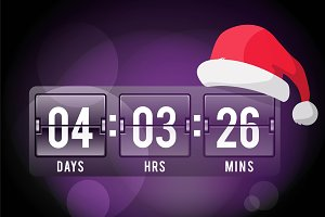 Christmas clock timer vector