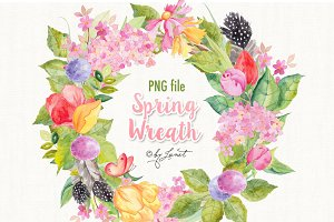 Spring Wreath Watercolor