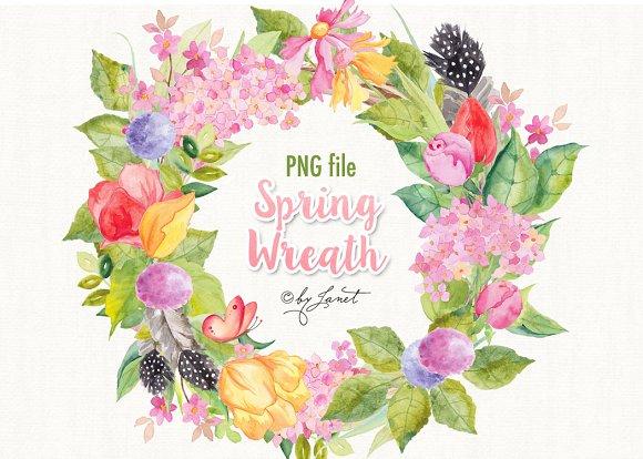 Spring Wreath Watercolor ~ Illustrations ~ Creative Market