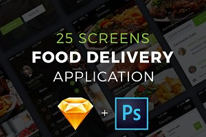 Food delivery PSD+Sketch app UI