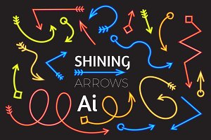 Neon Arrow Brushes Set. Vector.