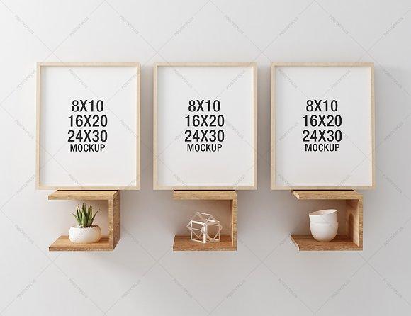 Download Wooden Frame Mockup on Unique Shelve