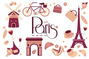 Paris flat vector set