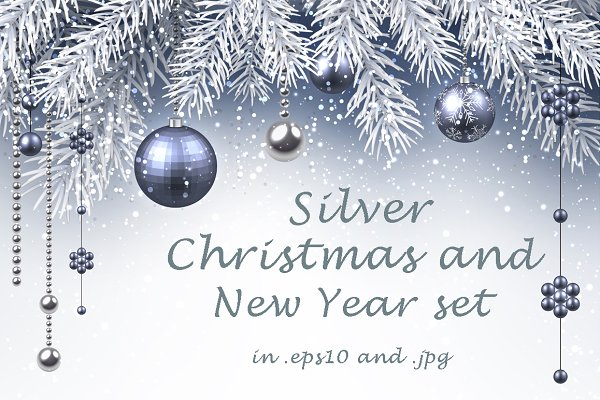 Silver Christmas and New Year set