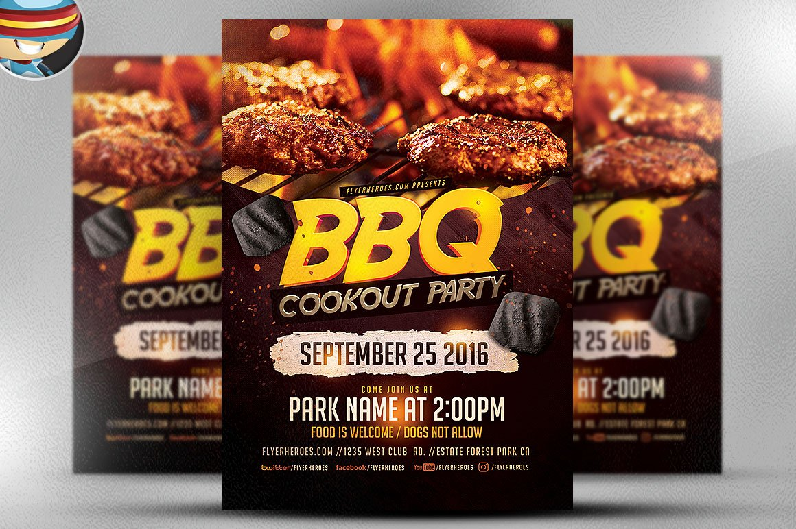 bbq cookout party flyer template flyer templates. Black Bedroom Furniture Sets. Home Design Ideas