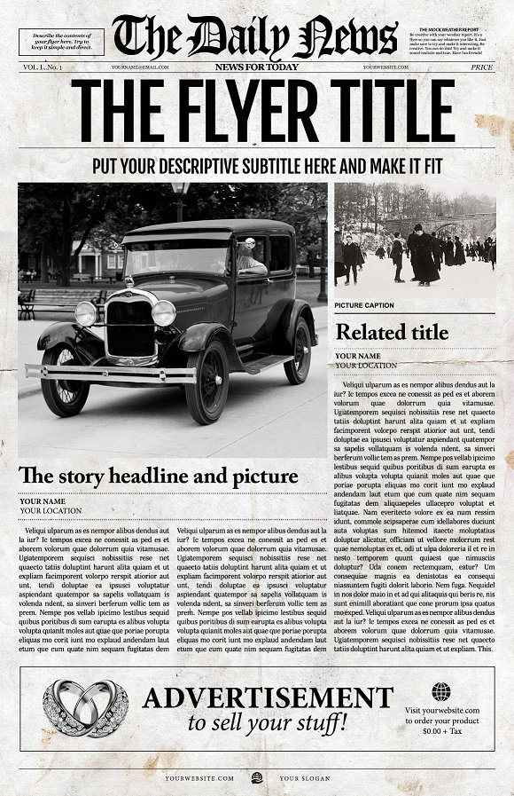 Old Newspaper Front Page Template Flyer Templates on Creative Market – Newspaper Front Page Template