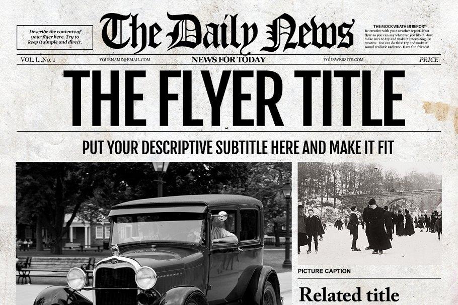 1 Page Newspaper Template Ai Creative Illustrator Templates Creative Market