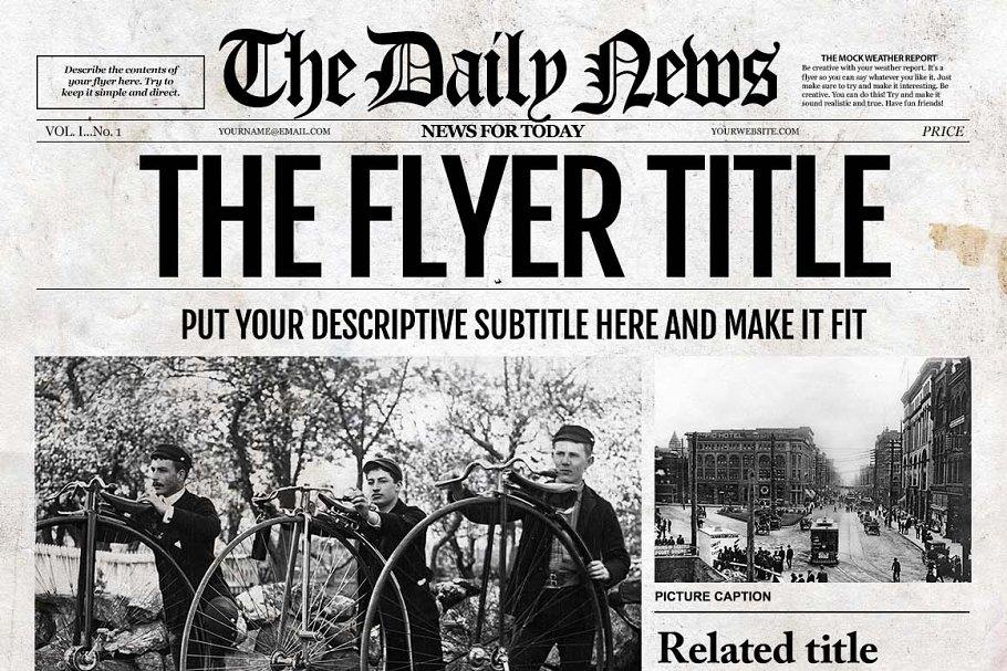 Newspaper Template InDesign Flyer Templates Creative Market