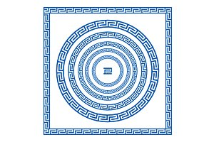 blue Greek borders. vector