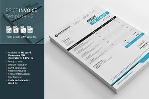 Price Invoice Template - 2